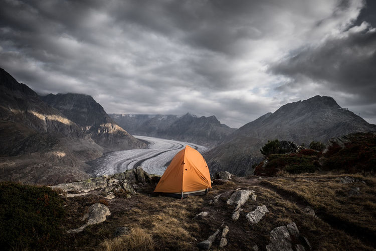 Switzerland Gletscher Walliser Alpen Mountain Cloud - Sky Sky Tent Camping Scenics - Nature Beauty In Nature Nature Adventure Mountain Range Environment Storm Landscape Overcast Exploration Tranquil Scene Tranquility Remote Outdoors No People Mountain Peak