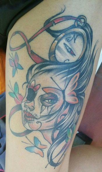 Tattoo Santamuerte Woman Inkedgirls Ink Taking Photos