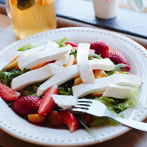 sweet beaty Cheese Close-up Day Food Food And Drink Freshness Healthy Eating High Angle View Indoors  No People Plate Ready-to-eat Salad Serving Size Strawberry Table Vegetable