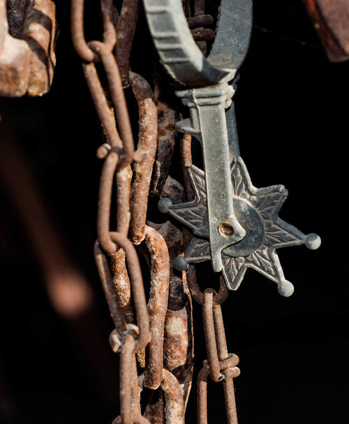 Tack Room - Spurs and Bits Cowboy Old West  Ranch Life Chains Close-up Day Metal No People Outdoors Rusted Rusted Metal  Rusty Spur Spurs Visual Creativity