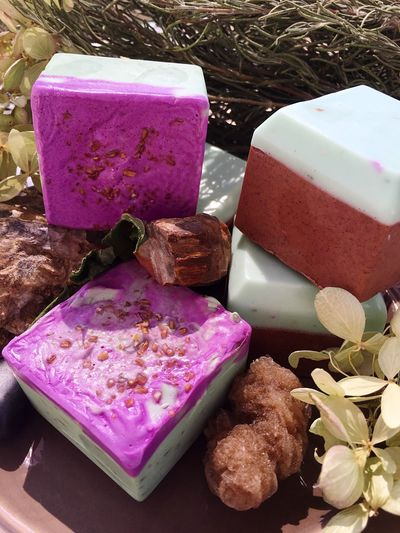 Retail  Freshness Pink Color Multi Colored Heap High Angle View Ready-to-eat Clean Organic Soap Soapmaking Homemade Serving Size Temptation Indulgence Freshness Still Life Cinnamon Mint Ancient Grains Organic Lifestyle Organic Gardening Lush Spa Day  Close-up