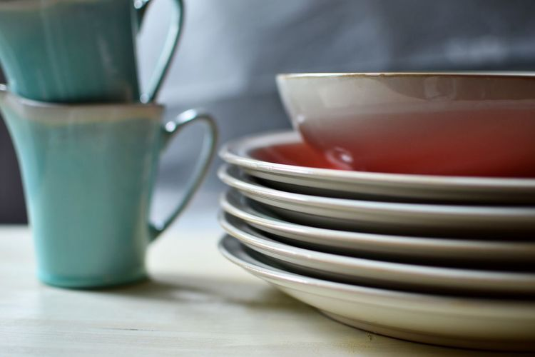 Close-Up Of Dinnerware On Table