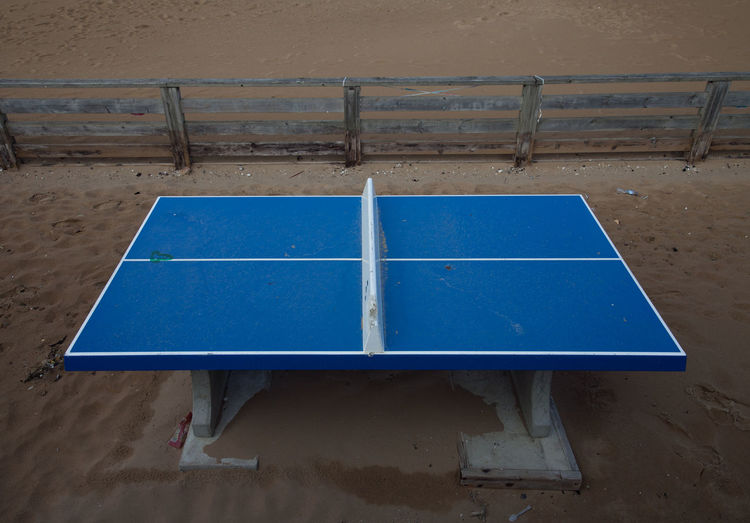 High angle view of blue table tennis