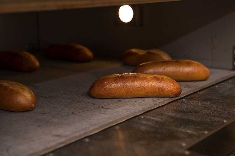 Fresh Bread On Baking Sheet