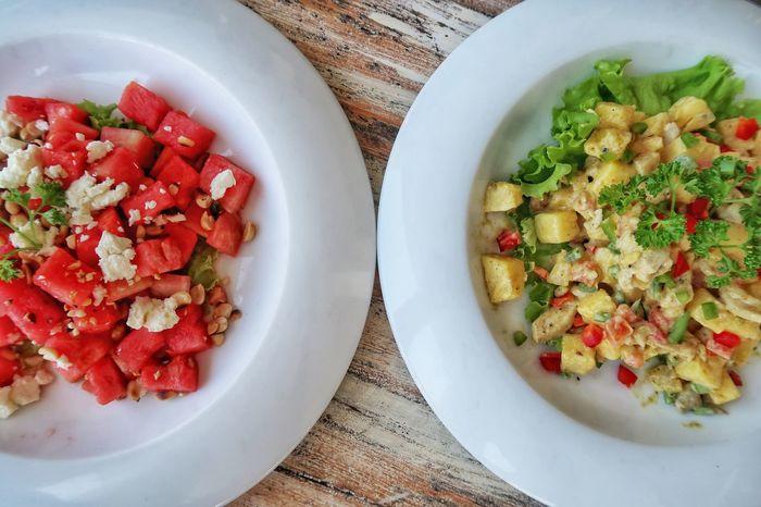 Exotic Salads Healthy Eating Food Freshness Delicious Watermelon Ananas Pineapple Salad Sri Lanka Food Color Feta