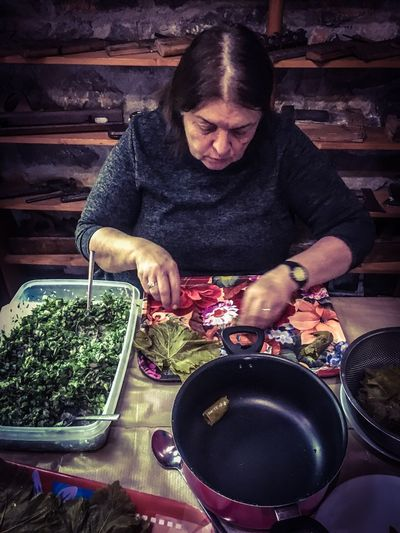 Greece Parnassos Pavliani Tavern  Greek Cuisine Traditional Cooking Indoors  One Person Front View Food Village Life Real People Travel Destinations Travel Photography Freshness