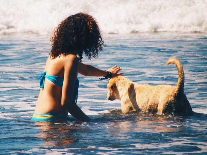 Live For The Story Beach Pets Summer Vibes Summer ☀ Beachphotography Beachwaves Waves Oceans Ocean Golden Retriever Water Lifestyles El Zonte Dog