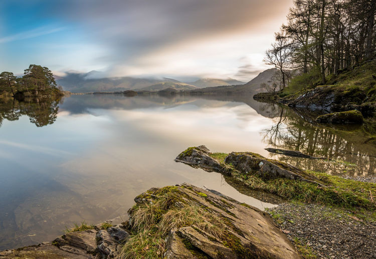 Stunning morning reflections on Derwent Water. Canvas Derwent Water Lake District Mirror Reflection Weather Beauty In Nature Day Landscape Mountain Nature No People Outdoors Pastel Rock - Object Scenics Season  Shore Sky Tourism Tranquil Scene Tranquility Travel Destinations Tree Water