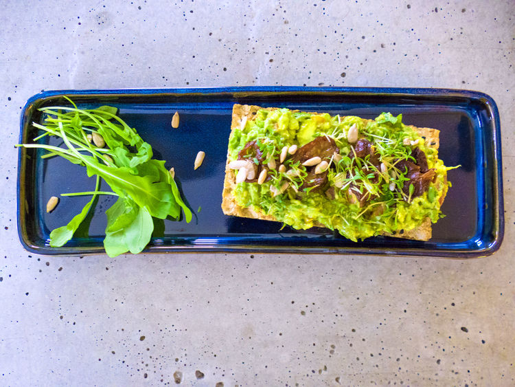 Breakfast Freshness Herbs Avocado Avocados Bread Close-up Crispbread  Food Food And Drink Fresh Freshness Green Color Healthy Healthy Eating Plate Plum Prune Ready-to-eat Rucola Sunflower Seeds Vegetable