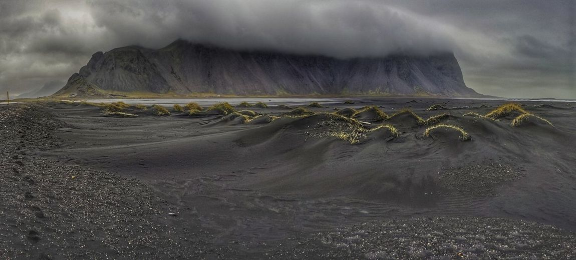 Landscape Travel Destinations Sky Outdoors Nature No People Day Mountain Clouds Iceland The Great Outdoors - 2017 EyeEm Awards Weather Thunderstorm Vestrahorn Black Sand Dune Storm HDR Stokness Fresh On Market 2017