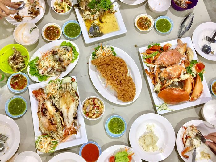 Seafood table Food Plate Table Meal Food And Drink Freshness Ready-to-eat Indoors  Healthy Eating No People Broccoli Day Seafoods Together Family Dining Table Weekly Eyeem Weekend Activities Onthetable