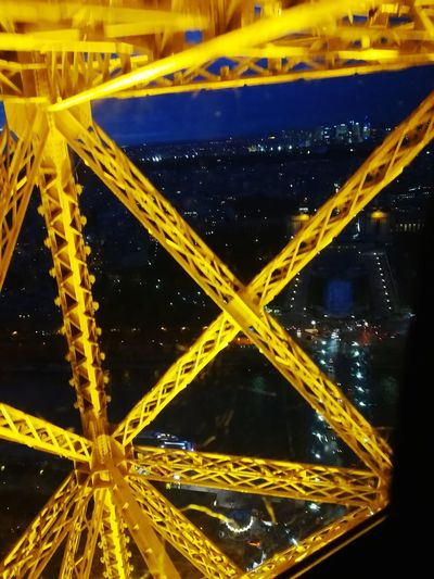 Yellow Abstract No People Architecture Engeenering Night perspectives, Built Structure Eiffeltowerbynight Nightlife View Of The City Trough The Eiffel Paris, France