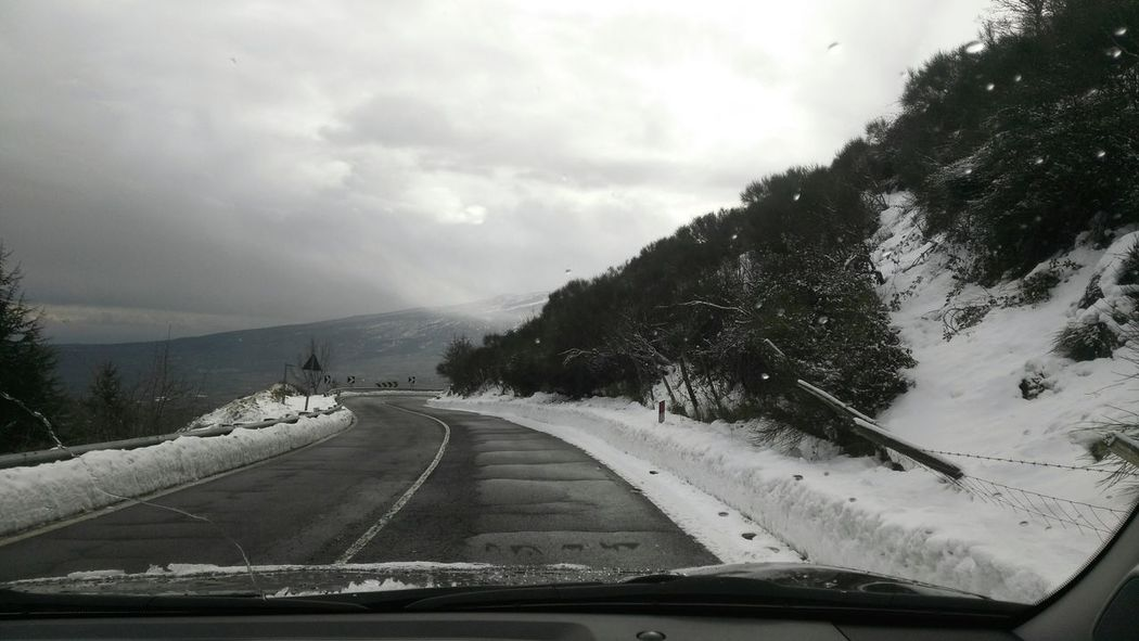 On The Road Transportation Car Tree The Way Forward Travel Car Interior Nature No People Cloud - Sky Road Cold Temperature Sky Outdoors Travelphotography Sicily Nebrodi Snow Mountain Landscape Travel Destinations