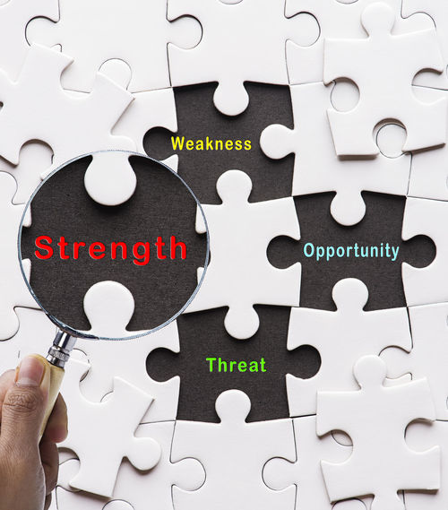 SWOT concept Business Business And Finance Discovering Opportunity Close-up Connection Day Focusing Hand Human Hand Indoors  Jigsaw Puzzle Magnifying Glass Management One Person People Puzzle  Solution Strategy Strength Swot Teamwork Theory Threat Weakness