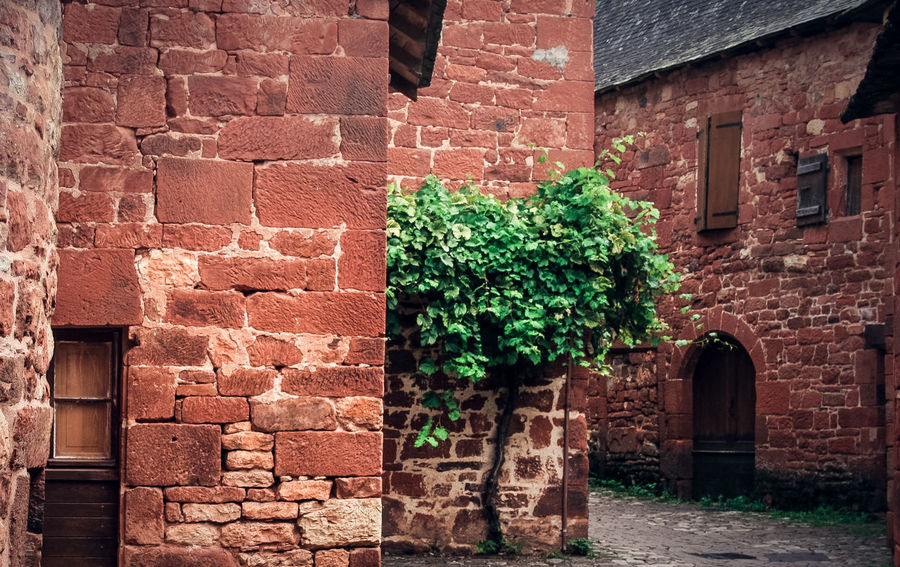 Collonges La Rouge Doors Typical Architecture Brick Wall Building Exterior Built Structure Day French Village No People Old Old House Outdoors Red Stone House Stones Street Village Vine