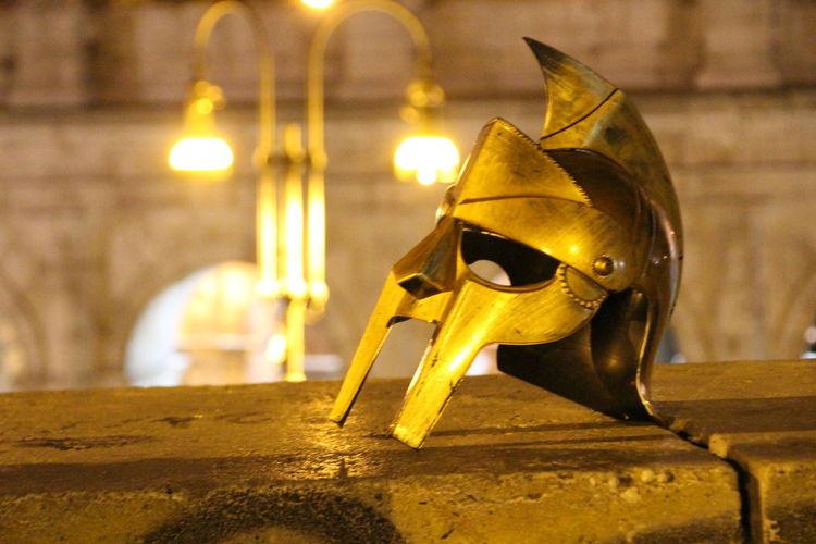 Close-up of illuminated sculpture