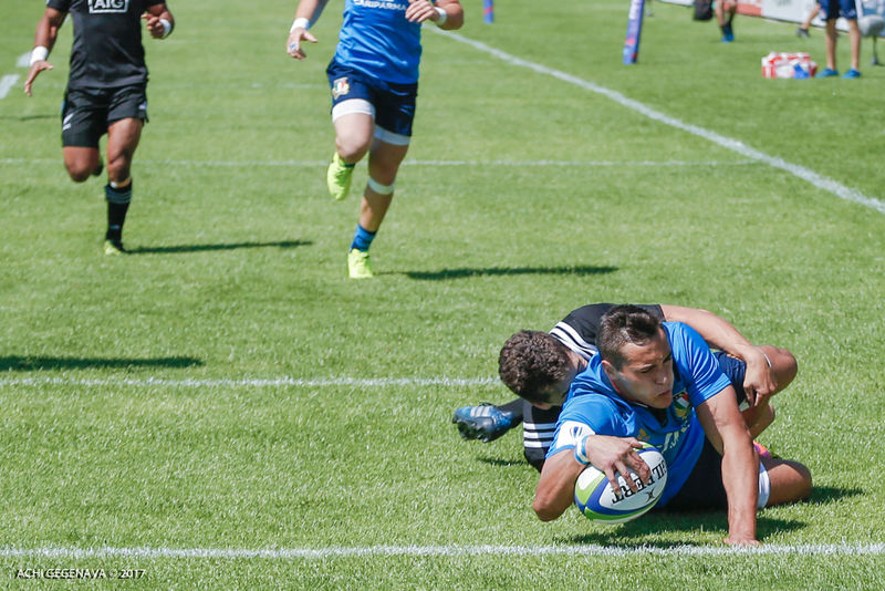 Sunday, Jun 04 2017 2017 World Rugby U20 Championship Pool B, AIA Arena, Kutaisi, Georgia New Zeland U20 vs Italy U20 Italy #15 Simone Cornelli, Try 2017 Adult AIAArena Championship Competition Competitive Sport Day Georgia Italy Kutaisi Men Newzeland Playing Rugby Soccer Soccer Ball Soccer Field Soccer Player Soccer Uniform Sport Sportsman Teamwork Try Vscocam WorldRugbyU20s