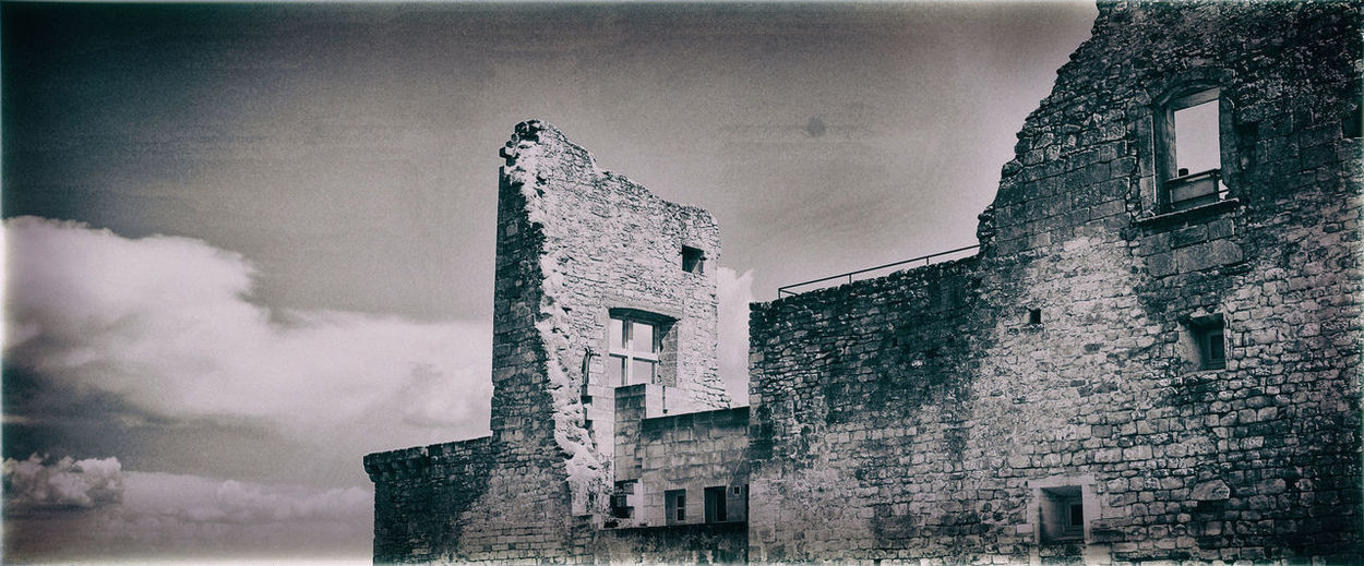 Castle Ruins Abandoned Architecture Auto Post Production Filter Black And White Blackandwhite Building Exterior Built Structure Castle Castle Ruin Cloud - Sky History Low Angle View Old Outdoors Ruins Architecture Sky The Past