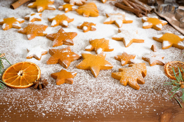 High angle view of cookies on christmas tree