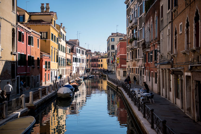 Venice, Italy Architecture Building Exterior Built Structure Canal City Clear Sky Day Gondola - Traditional Boat Mode Of Transport Moored Nature Nautical Vessel No People Outdoors Residential Building Sky Transportation Venice Water