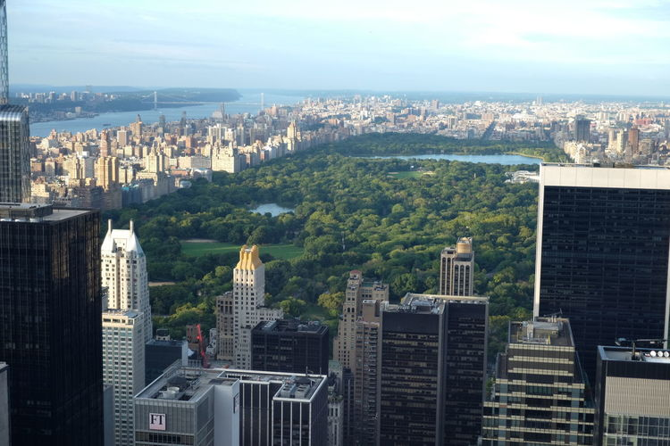 Central Park Amidst Cityscape Against Sky