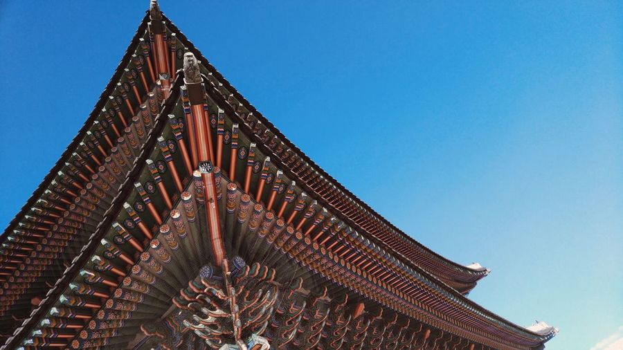 Gyung Bukgung Palace Clear Sky Low Angle View Architecture Built Structure Blue Travel Destinations Famous Place Tourism Engineering Outdoors Day National Landmark Capital Cities  Modern International Landmark Monument High Section No People City Life Curve