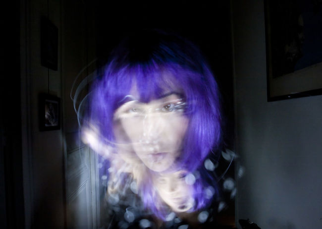 Stranger Than Paradise Exhibition. 2017. Light painting protocol. No retouching done. Woman Close-up Dot Outfit Double Face Face Purple Hair Strange Violet Hair