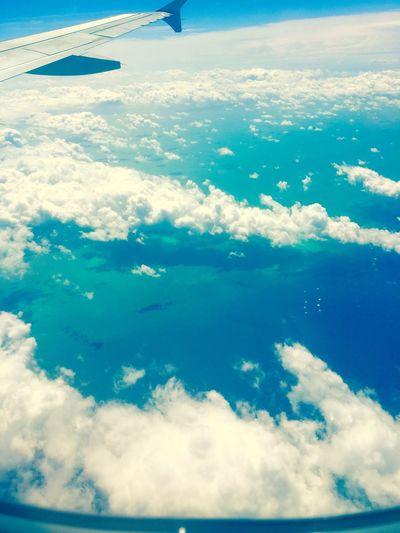 Clouds Sun Blue Sky Flight Airplane Sea Water