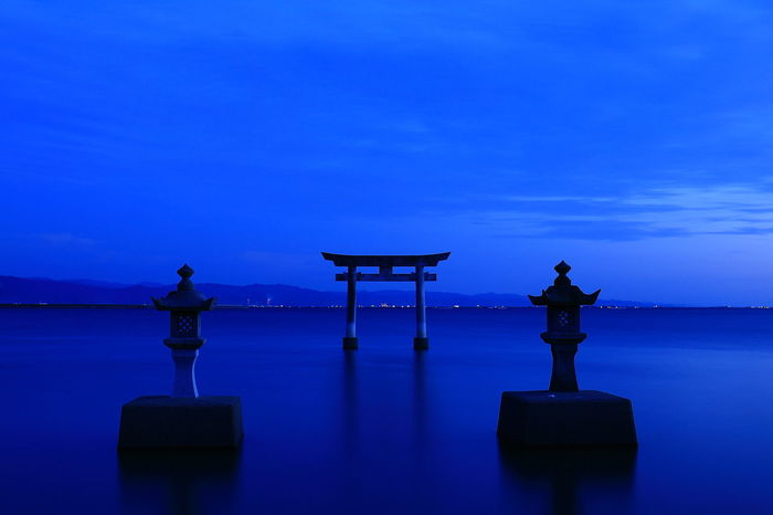 A Shrine EyeEm Gallery Hello World Japan Japan Photography Japanese Culture TORII The Week On EyeEm Architecture Beauty In Nature Blue Day Horizon Over Water Nature No People Outdoors Scenics Sea Sky Temple Tranquil Scene Tranquility Water