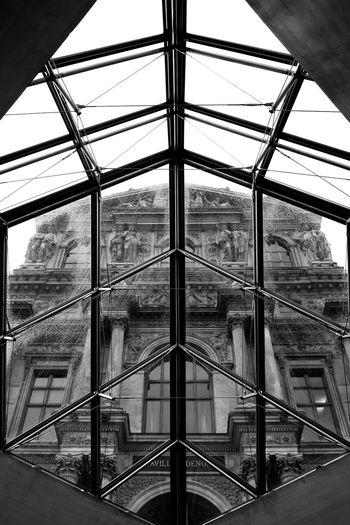 Louvre museum Architecture Arcitecture B&w Black And White Built Structure Day Fuji Fujifilm Glass Glass - Material Indoors  No People Old Window X100 X100S Xseries