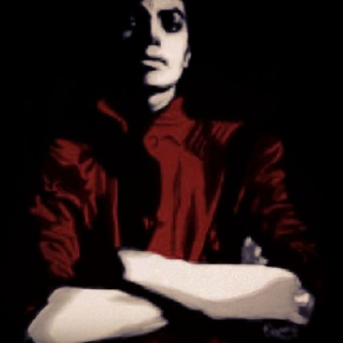 Drawing Micheal Jackson Thriller red zombie king pop legend sketch body painting style art digitalart deep dark black
