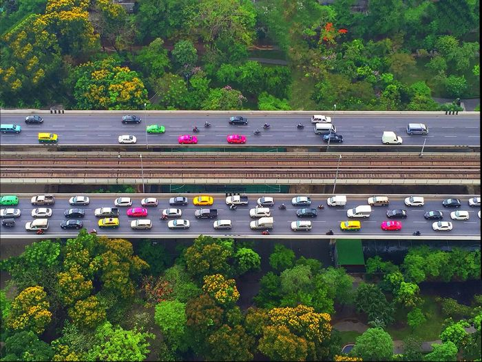 High angle view of cars on freeway