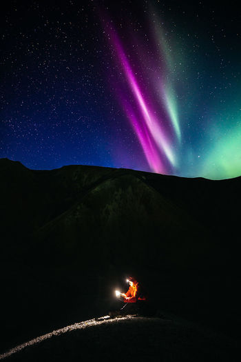 Reading a book while timelapsing an aurora happening above my head was probably the most surreal thing that happened to me in months. Check out my prints at https://simonmigaj.com/shop/ and visit my Instagram https://www.instagram.com/simonmigaj/ for more inspirational photography from around the world. See less Aurora Aurora Borealis Iceland Northern Lights Travel Adventure Astronomy Beauty In Nature Camping Environment Glowing Illuminated Landscape Light - Natural Phenomenon Mountain Mountain Peak Nature Night Scenics - Nature Sky Space Star - Space My Best Travel Photo
