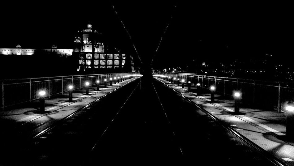 bnw night Myview Takingphotos Bnw_collection Bnw_of_our_world Bnwsouls Bnw_mood Bnwphotography Portugalbnw #bnw_worldwide Night Illuminated Architecture Built Structure Building Exterior City Transportation Sky Nature No People Connection Footpath Bridge Outdoors Nightlife Direction