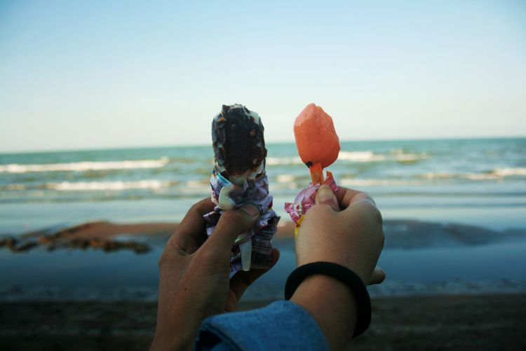 Ice cream Beach Bonding Clear Sky Day Fun Horizon Over Water Human Body Part Ice Cream Ice Cream Time Leisure Activity Nature Outdoors People Sea Sky Summer Togetherness Two People Vacations Water Women Young Adult