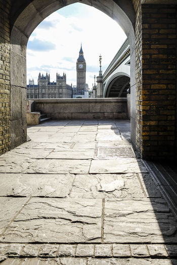 View of westminster bridge and big ben against sky
