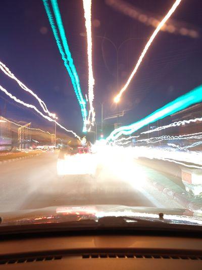 Light trails on street at night
