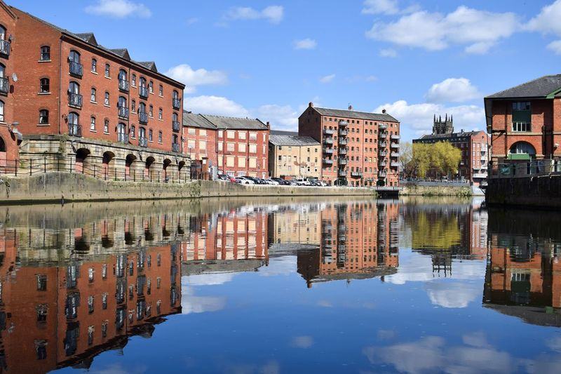 The calls from the River Aire, Leeds Architecturelovers Architecture Cityscapes City Showcase April Leeds Reflections In The Water Reflection Blue Wave River Aire River Yorkshire My Favorite Photo