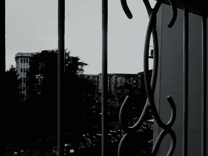 Black And White Bw Photography Through Tgrough The Railing Looking To The Other Side Looking Through Looking Out