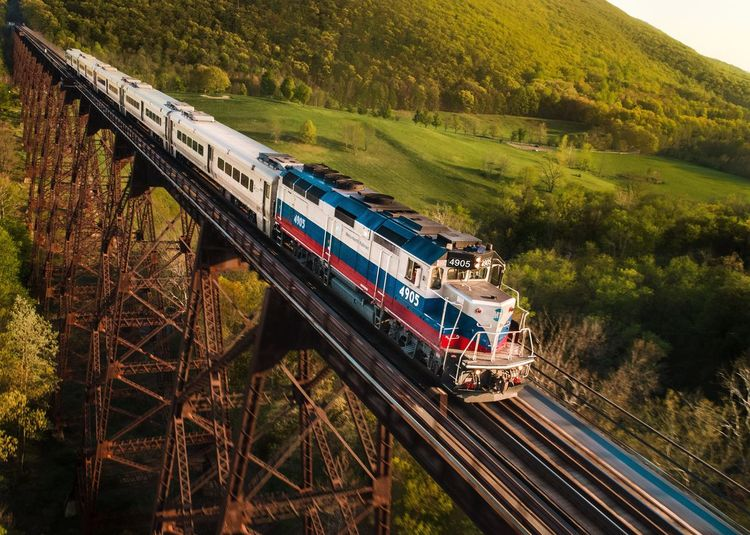 6:32 to Port Jervis New York Trestle Viaduct Metro North Plant Tree Transportation Train Outdoors Landscape Railroad Track Bridge Green Color Track Day Train - Vehicle Public Transportation
