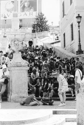 Architecture Black & White Black And White City City Lamps Film Stock Large Group Of People Men Monuments Of The World Neopan Acros 100 Parade People People Seating Piazza Di Spagna Stairs Tourism Tourists Vacanze Romane Women