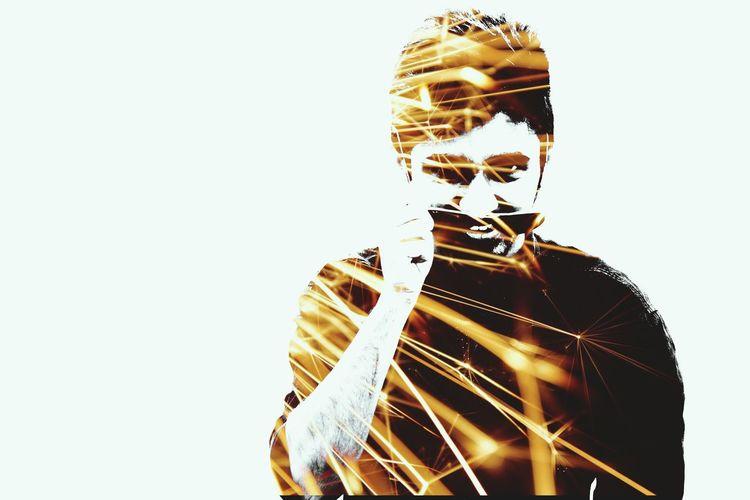 The double exposure Digital Composite One Person Futuristic Day Outdoors Pixelated Double Exposure EyeEmNewHere Technology Studio Shot Experimental Photography EyeEm SelectsNikon Picoftheday Silhouette Holiday Enjoying Life EyeEmBestPics Eye4photography  Eye4photography  People Young Adult Close-up Life Shadow