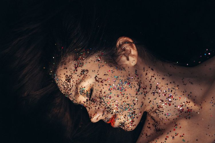Glitter Colors Colours Multi Colored Shirtless Human Body Part One Person People Only Women One Woman Only Adult Young Adult Adults Only Human Face Beautiful People Beauty Portrait Young Women Beautiful Woman Lifestyles One Young Woman Only Close-up Women Black Background Love Yourself Visual Creativity This Is My Skin The Fashion Photographer - 2018 EyeEm Awards The Portraitist - 2018 EyeEm Awards The Still Life Photographer - 2018 EyeEm Awards The Creative - 2018 EyeEm Awards International Women's Day 2019