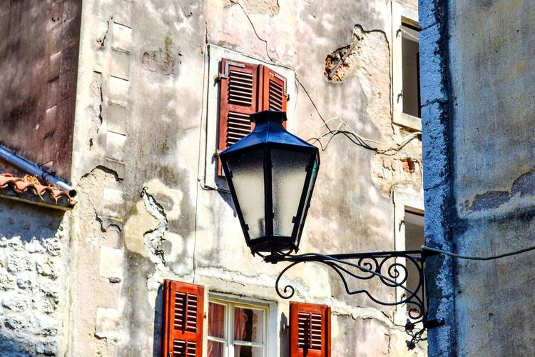 Red windows and a lamp Kotor Cattaro Montenegro Lamp Window Windows Building Exterior Architecture City Red Window Illumination Contrast My Year My View