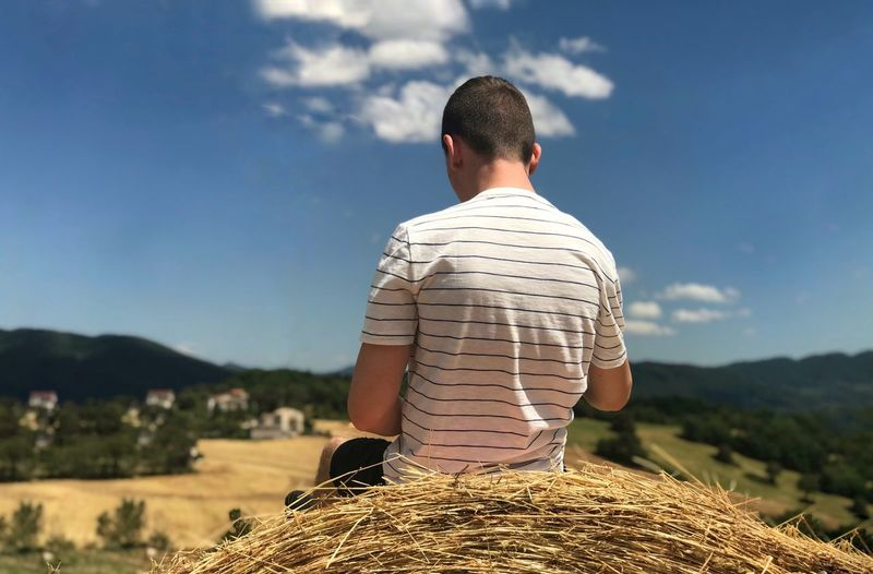 Rear View Of Man Sitting On Hay Bale Against Sky During Sunny Day
