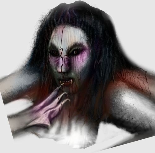 Adapted To The City Only Women Beautiful Woman Long Hair One Young Woman Only Young Adult White Background People Adult Human Body Part Close-up Beauty Women One Woman Only One Person Day Indoors  Stage Make-up Furious Gothic Style Ghost Monster - Fictional Character Drawing ✏ Bizarre Blood