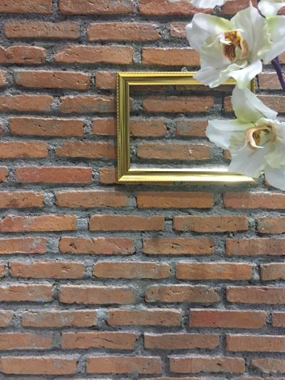 brown brick wall with gold frame and flower decoration. Brick Wall Built Structure Architecture Building Exterior No People Concept Design Brick Framed Plant Beauty In Nature Wall - Building Feature Textured  Textures And Patterns Textures And Surfaces Decorative Plants Freshness Close-up Brick Wall Flower