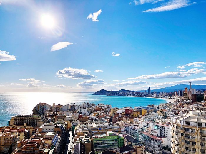 Benidorm Water Sky Sea Sunlight Nature Beach Cloud - Sky Land Day Harbor Architecture City Blue Scenics - Nature Built Structure Building Exterior Outdoors Holiday No People