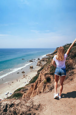 Girl on the ocean beach Alone Coastline Dream Dreams Exploring Happiness Loneliness Travel Woman Beauty In Nature Day Eternity Girl Horizon Over Water Leisure Activity Lifestyles Nature One Person Outdoors Real People Rear View Sea Sky Water Young Adult