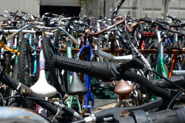 Close-Up Of Bicycles Parked In Rack